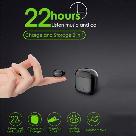 2019 Newest Invisible In-ear Mini Wireless Bluetooth Headset Stereo Earphone Large Capacity Sport Earset with KP6P Charging (Best Earbuds For Sports 2019)