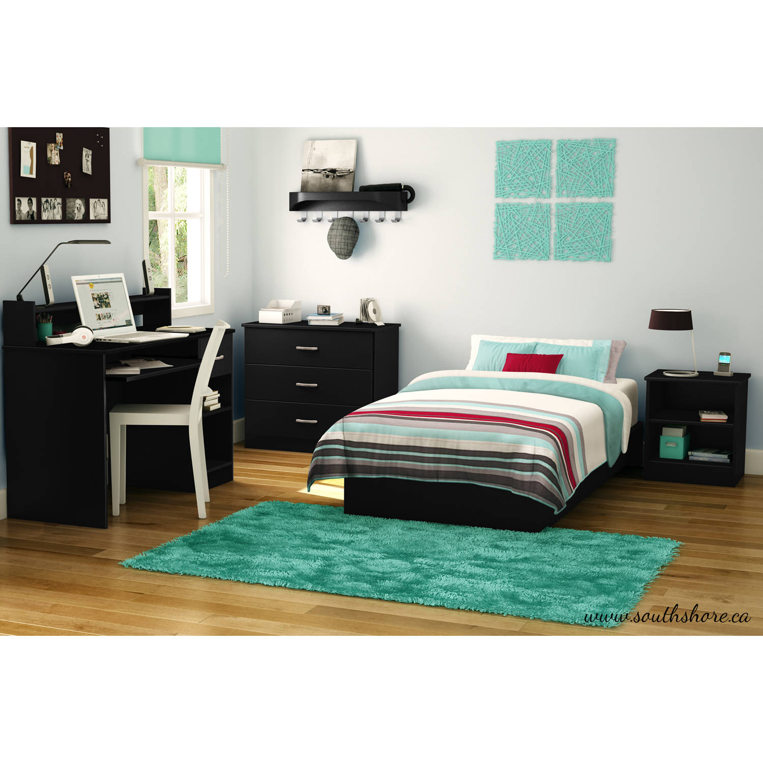 Nice South Shore Smart Basics Twin Platform Bed U0026 Headboard, Black   Walmart.com