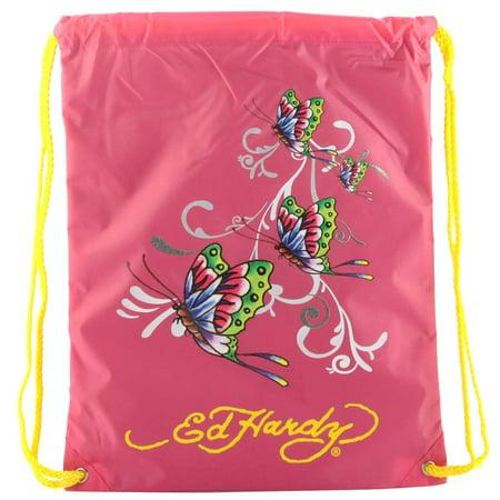 Ed Hardy Drew Drawstring Glitter Butterfly Bag - Hot Pink Hot Pink Drawstring Purse