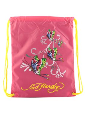 b61aaa084801 Product Image Ed Hardy Drew Drawstring Glitter Butterfly Bag - Hot Pink