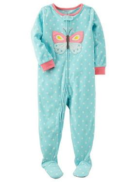 Carter's Little Girls' 1-Piece Butterfly Fleece PJs, 2-Toddler