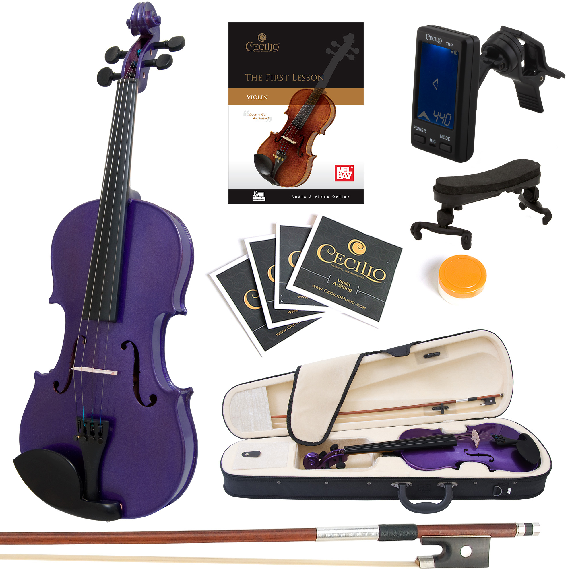 Mendini Full Size 4/4 MV-Purple Solid Wood Violin w/Tuner, Lesson Book, Shoulder Rest, Extra Strings, Bow, 2 Bridges & Case, Metallic Purple
