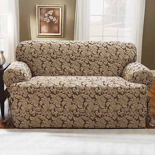 Sure Fit Scroll Brown T-Cushion Loveseat Slipcover
