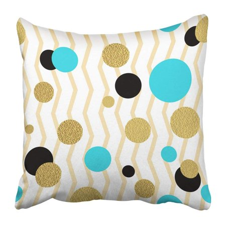 BPBOP Pink Circle Classic Dotted Gold Glitter Pattern Polka Dot Ornate Black Christmas Turquoise Round Pillowcase Pillow Cushion Cover 18x18 inch