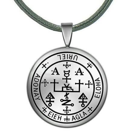 Guardian Archangel Uriel Sigil Amulet Keep Me Safe and Positive Inscription Prayer Leather Necklace