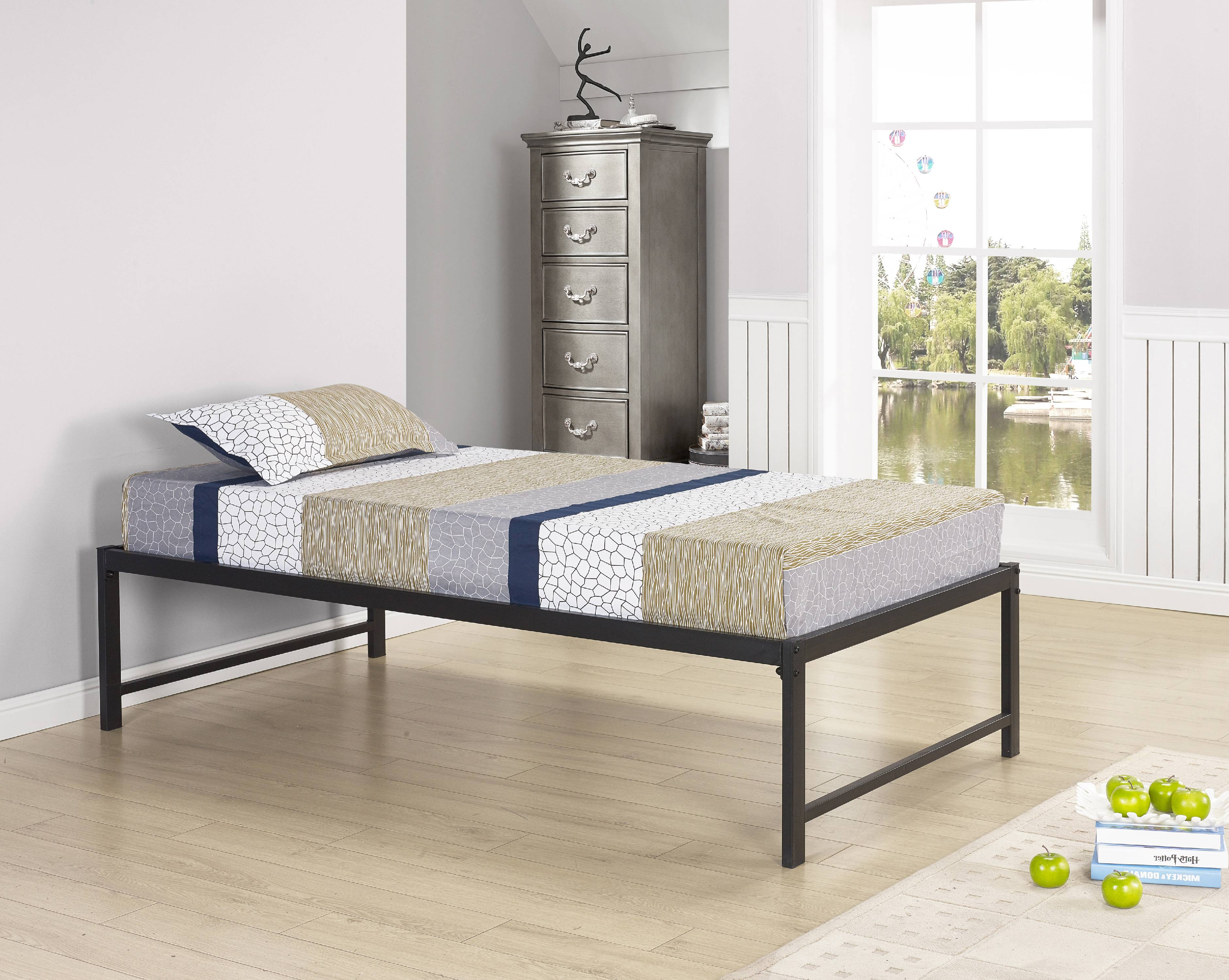 "Archer 39"" Twin Size Black Metal Day Bed Frame With Rails & Slats (Twin Day Bed) by Pilaster Designs"