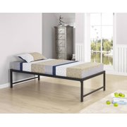 """Archer 39"""" Twin Size Black Metal Day Bed Frame With Rails & Slats (Twin Daybed)"""