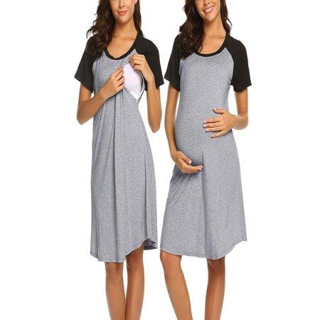 Women Maternity Dress Nursing Baby Nightgown Breastfeeding Nightshirt Sleepwear