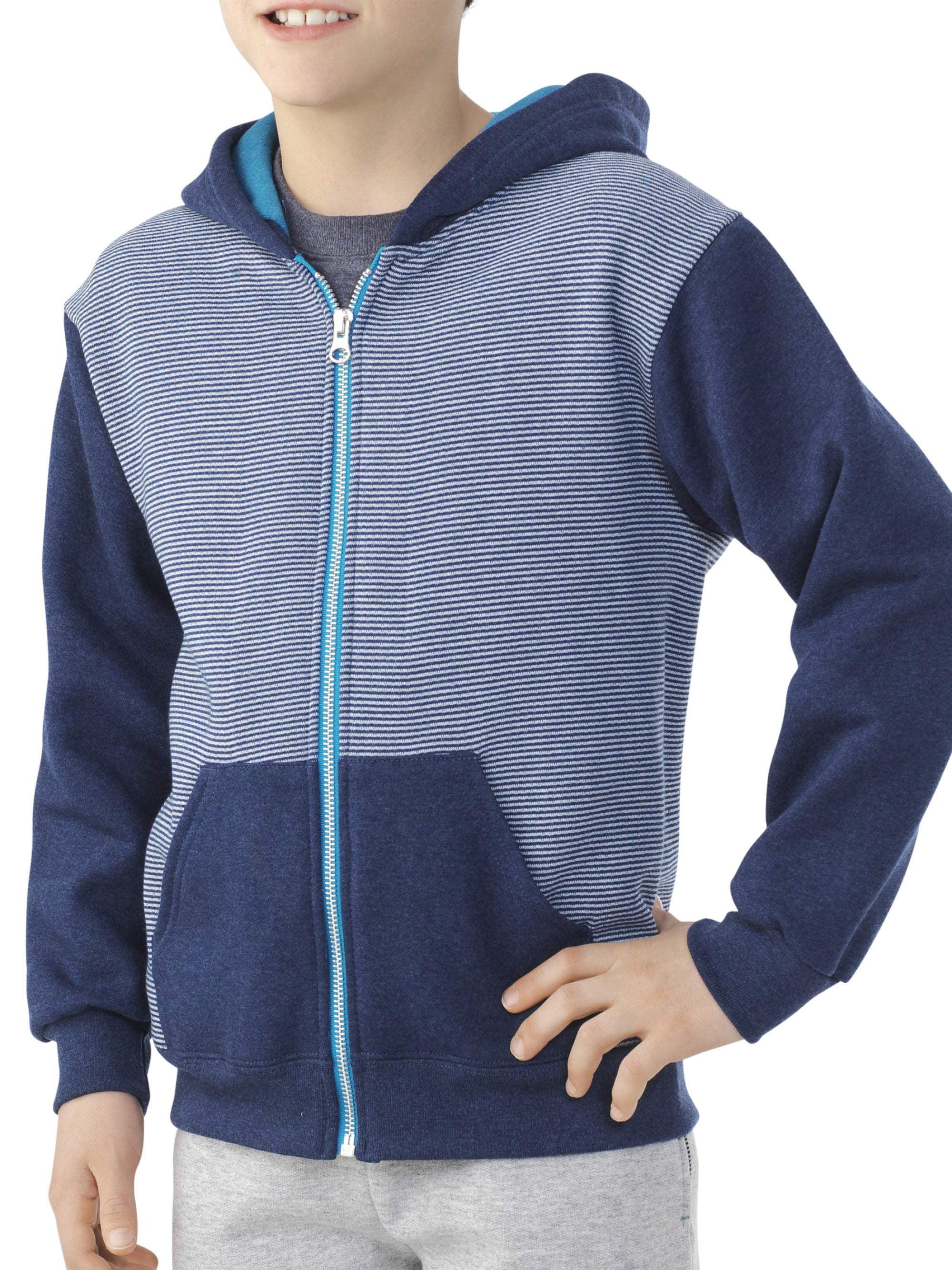 Boys' Explorer Fleece Super Soft Zip Hoodie with Contrast Sleeves