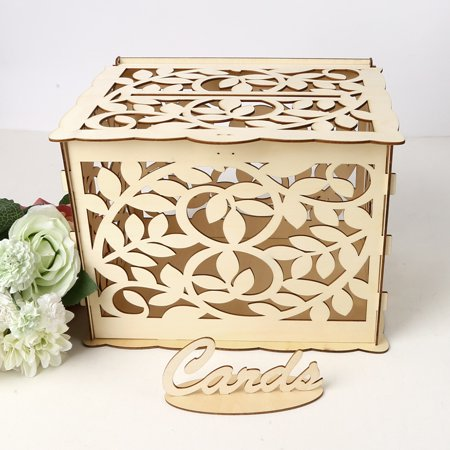 Diy Wooden Wedding Card Box With Lock And Card Sign Rustic Hollow