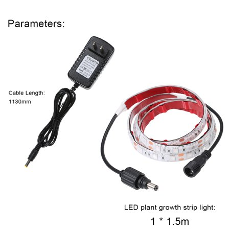 DC12V 18W 1 * 1.5M 90 LED Plant Growth Lamp Light Kit IP54 Water Resistance for Indoor Outdoor Greenhouse Flowers Balcony - image 7 de 7