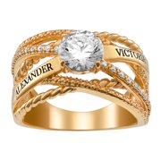 Personalized Women's Silvertone or Goldtone Engraved Names CZ Ring