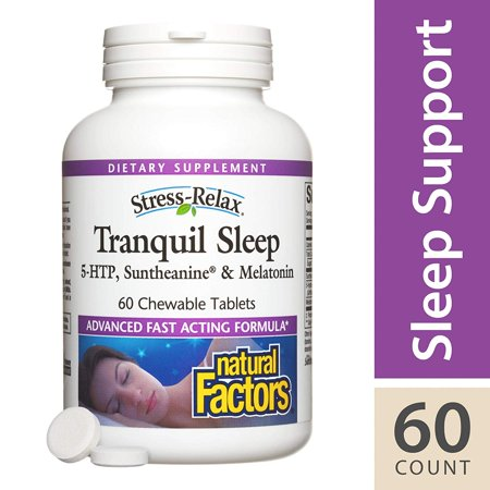 - Stress-Relax Chewable Tranquil Sleep by , Sleep Aid with Suntheanine L-Theanine, 5-HTP, Melatonin, Tropical Fruit Flavor, 60 Tablets (30 Servings) Natural Factors - 60 Chewable Tablets - Standard Pack