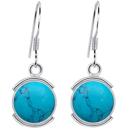 925 Sterling Silver 8 1/5 Carat Turquoise Dangle Earrings