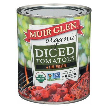 Organic Diced Tomatoes - Muir Glen Organic Diced Fire Roasted Tomato - Tomato - Pack of 12 - 28 Oz.
