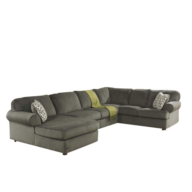 Ashley Jessa Place 3 Piece Microfiber Left Chaise Sectional in Pewter by Ashley Furniture