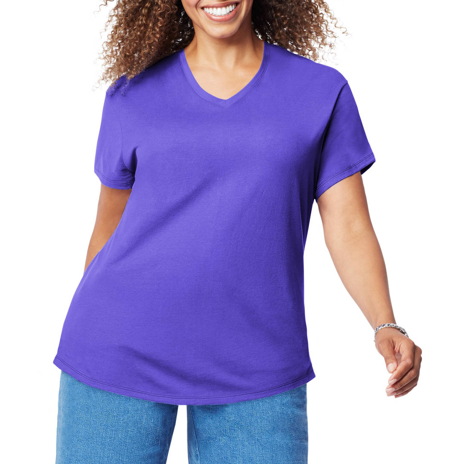 Just My Size Women's Plus-Size Short Sleeve V-Neck T-shirt