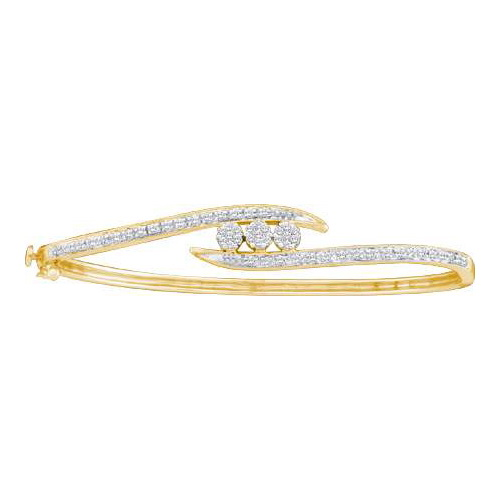 14K Yellow Gold 0.50ctw Fancy Pave Round Diamond Ladies Bypass Flower Bangle