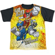 Power Rangers - Go Go Dino Charge - Youth Short Sleeve Black Back Shirt - Large