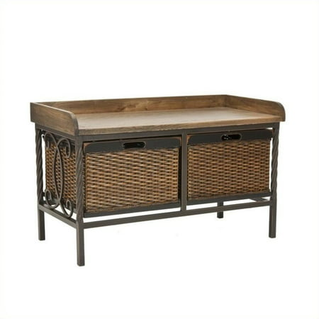 Hawthorne Collection Elm Wood Storage Bench in Pewter and - Pewter Baroque Collection