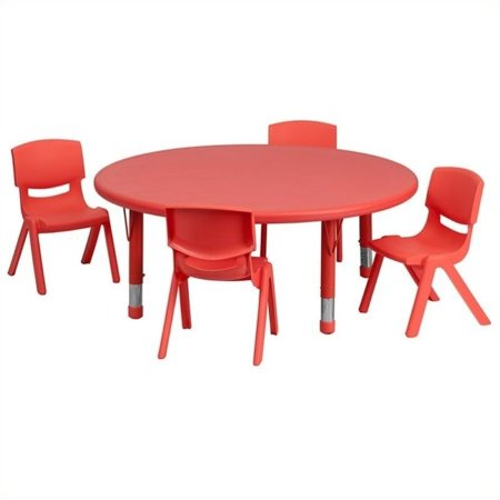 "Bowery Hill 5 Piece 33"" Round Adjustable Table Set in Red - image 2 de 2"