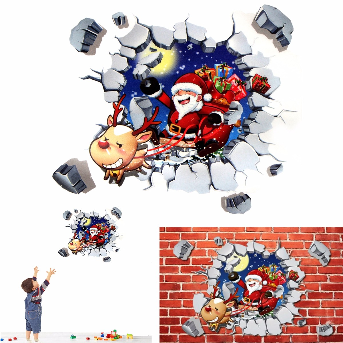 "17.7*23.7"" Removable natale Christams Santa Claus 3D Wall Art Decals Stickers for Kids Room Nursery Bedroom Home Decor DIY Wall Sticker"