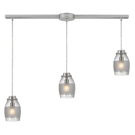 ELK Lighting 3 Light Linear Pendant with Hand-Blown Glass Shade
