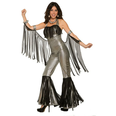 Womens Disco Queen Silver Jumpsuit Halloween Costume for $<!---->