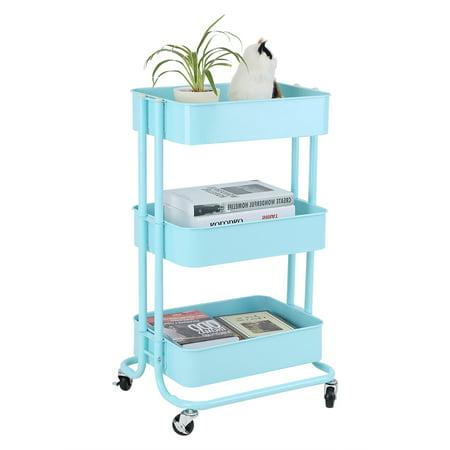 multifunctional rolling utility cart adjustable 3 tier metal storage rack trolley cart home. Black Bedroom Furniture Sets. Home Design Ideas