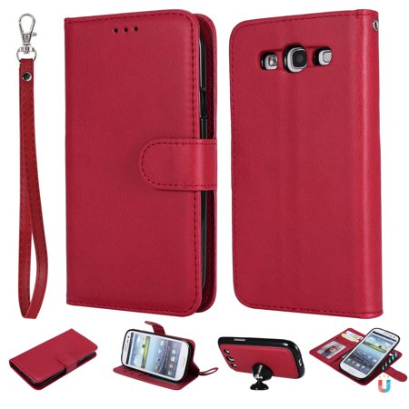 - Galaxy S3 Case Wallet, S3 Case, Allytech Premium Leather Flip Case Cover & Card Slots Pocket, Wrist Design Detachable Slim Case for Samsung Galaxy S3 S III I9300 GS3 (Red)