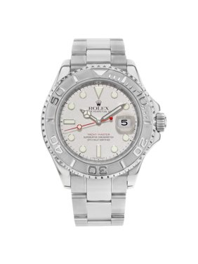 Pre-Owned Rolex Yacht-Master 16622 Steel Platinum Grey Dial No Holes Automatic Mens Watch