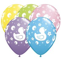 Rubber Duckie Print 11 inch Latex Balloons (6 ct)