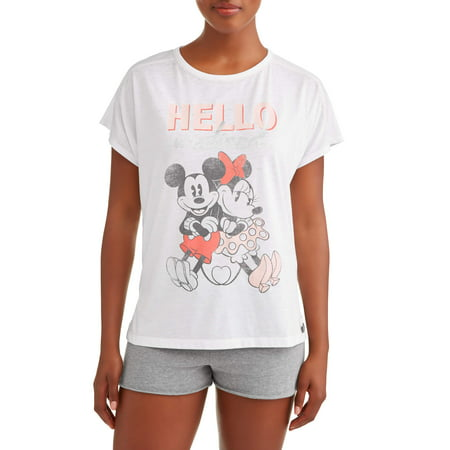 a9db9114126 Disney - Disney Women s and Women s Plus Mickey Mouse and Minnie Pajama T- Shirt - Walmart.com