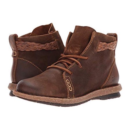 Rust Color Leather (Born Womens Temple Leather Round Toe Ankle Fashion Boots, Rust, Size 8.5)