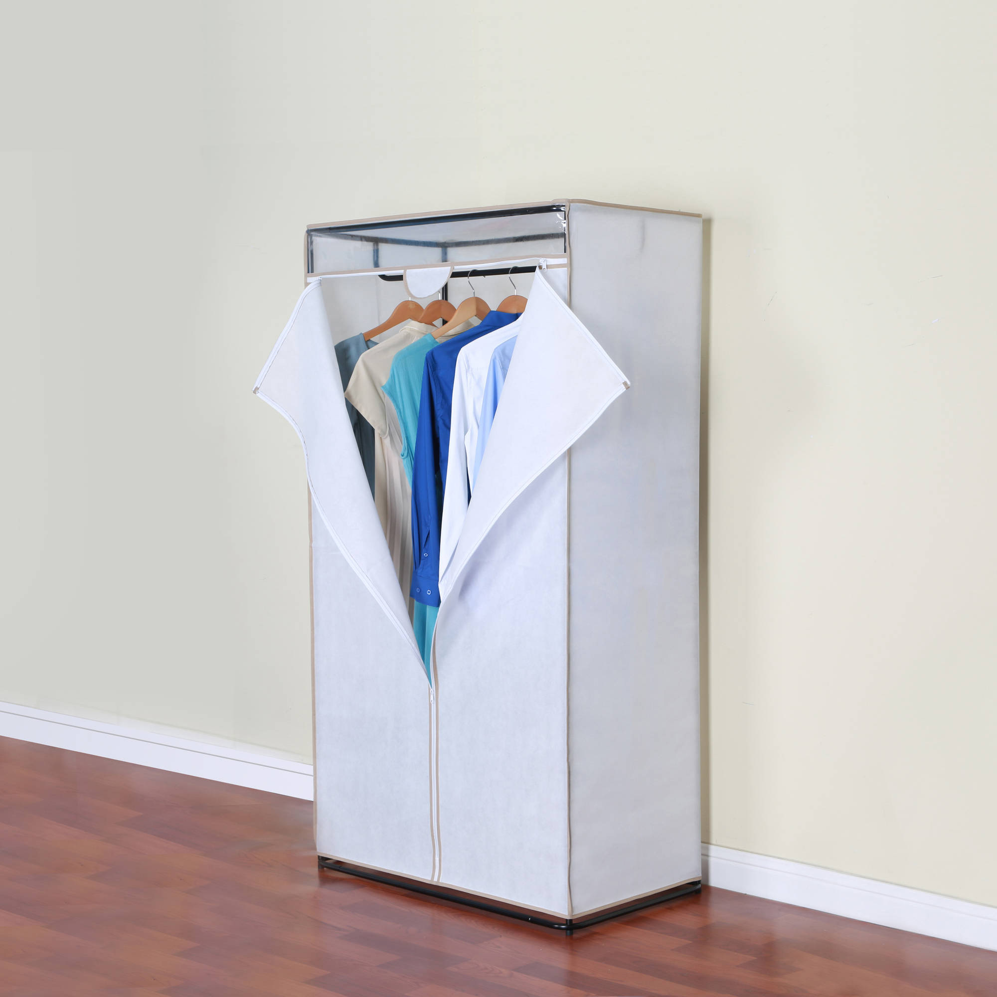Mainstays 36 clothes closet organizer with cover and hanging bar