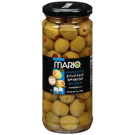 (4 Pack) Mario Reduced Sodium Manzanilla Olives stuffed with Minced Pimiento 7oz