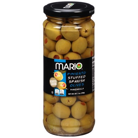 (4 Pack) Mario Reduced Sodium Manzanilla Olives stuffed with Minced Pimiento 7oz (Manzanilla Stuffed Olives)