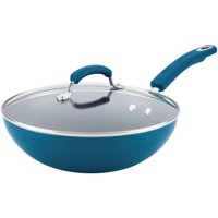 """Rachael Ray Classic Brights Aluminum Nonstick Stir 11"""" Fry Pan with Glass Lid"""