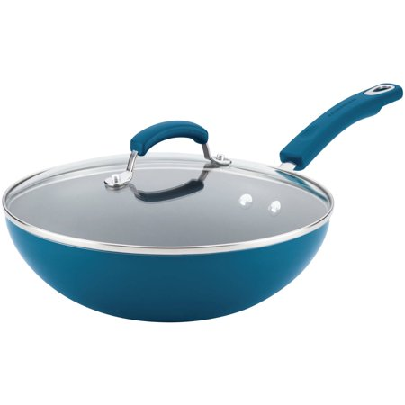 "Rachael Ray 11"" Hard Enamel Aluminum Nonstick Stir Fry Pan with Glass Lid Marine Blue"