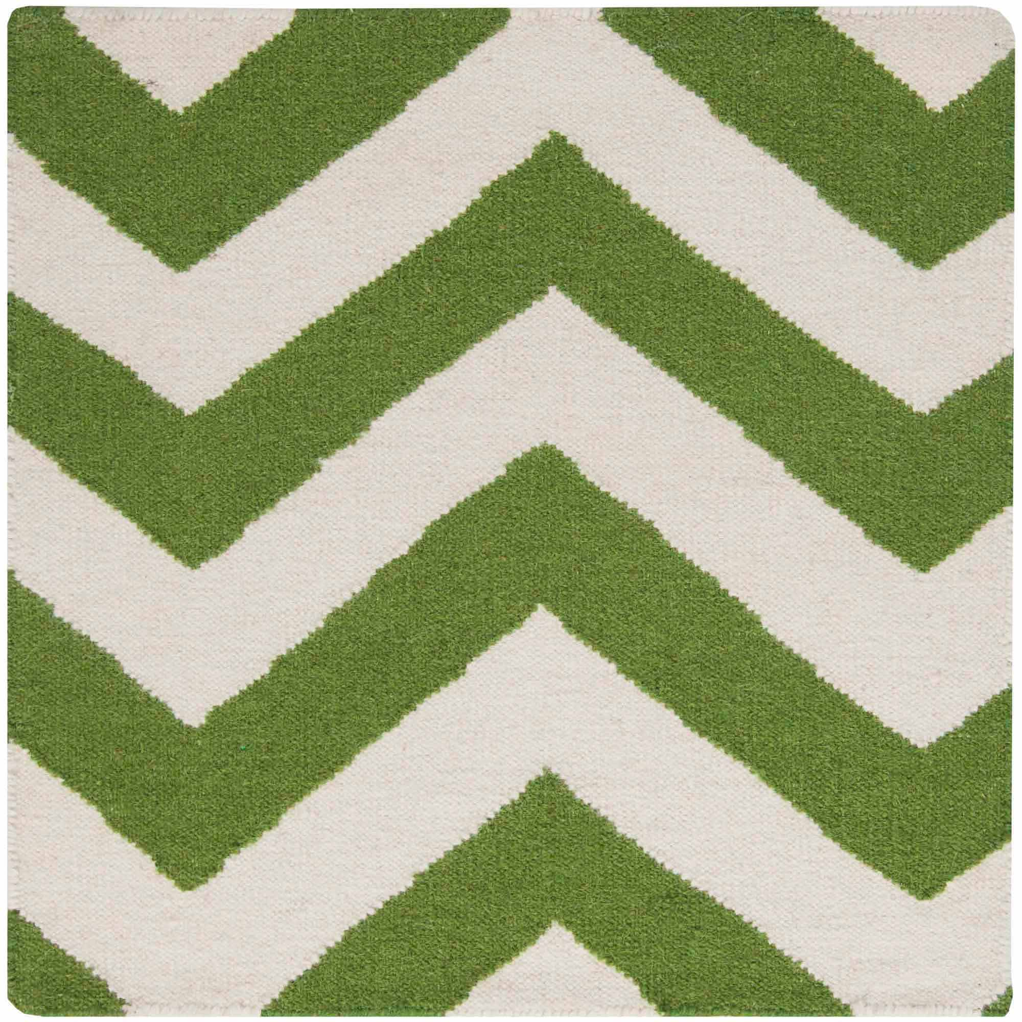 Art of Knot Laughlin Hand Woven Chic Chevron Flatweave Wool Area Rug, Forest