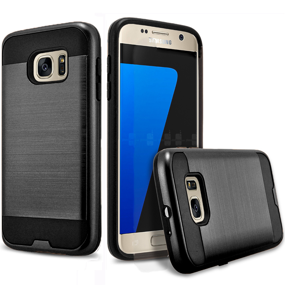 Galaxy S7 Edge Case, 2-Piece Style Hybrid Shockproof Hard Case Cover With Circlemalls Stylus Pen (Black)