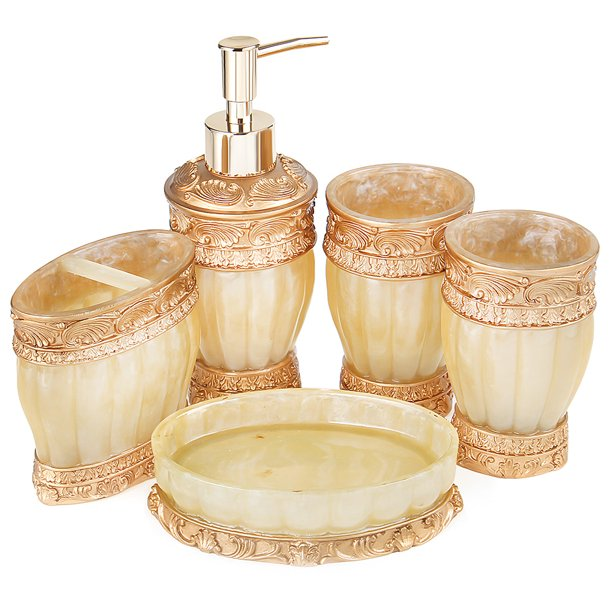 Vintage Rose Bathroom Accessories 5 Piece Bathroom Accessories Set Features Soap Dispenser Toothbrush Holder Tooth Brushing Cup Soap Dish Rose Pink Bath Gift Set Walmart Com Walmart Com