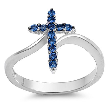 Padparadscha Color Sapphire (CHOOSE YOUR COLOR Cross Blue Simulated Sapphire Wide Ring New .925 Sterling Silver)
