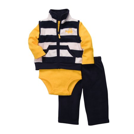 Carters Infant Boys 3 Piece Bulldozer Outfit Sweat Pants Creeper Jacket Vest