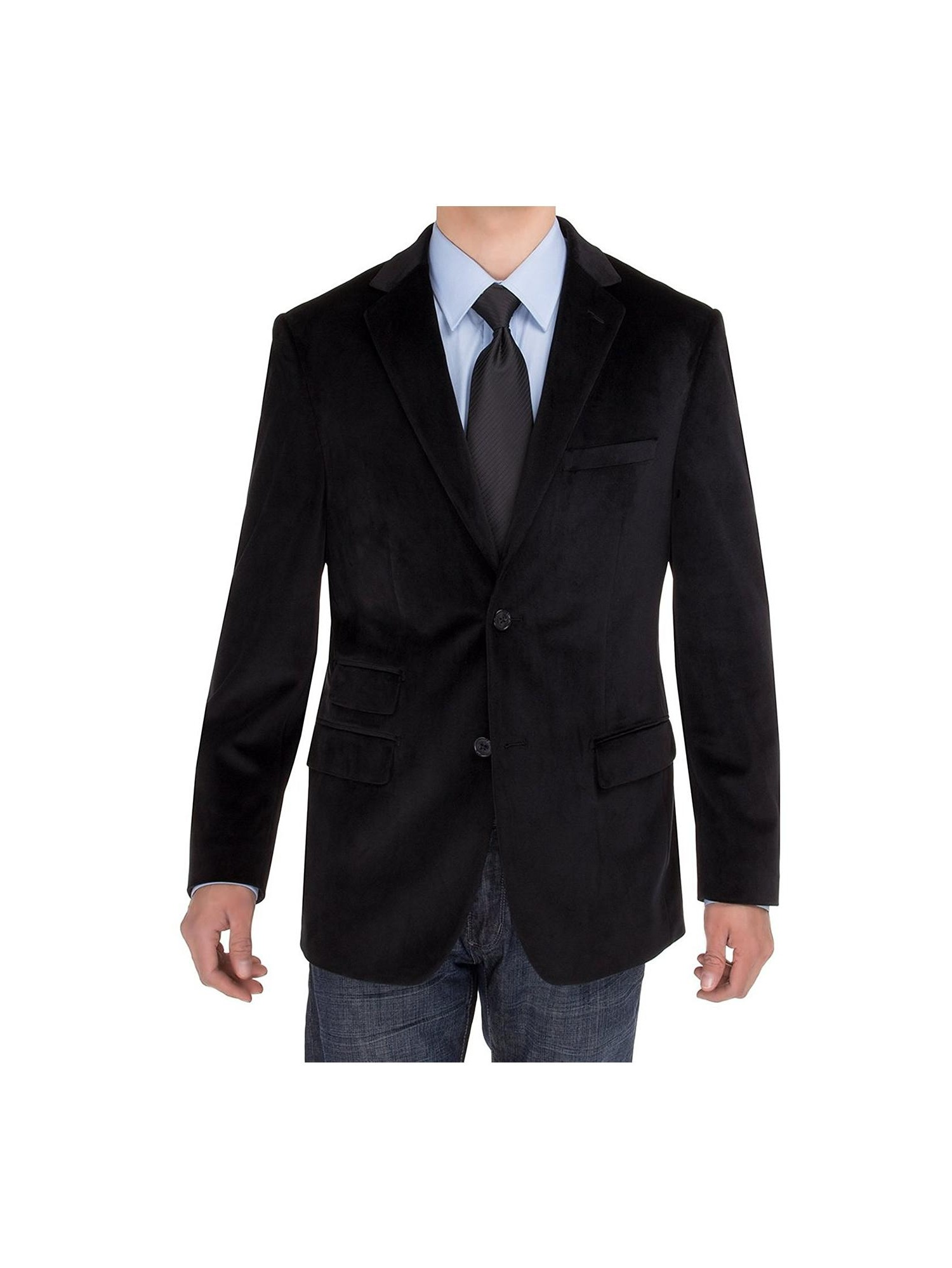 Salvatore Exte Mens Two Button Blazer Modern Fit Velvet Side-Vent Suit Jacket