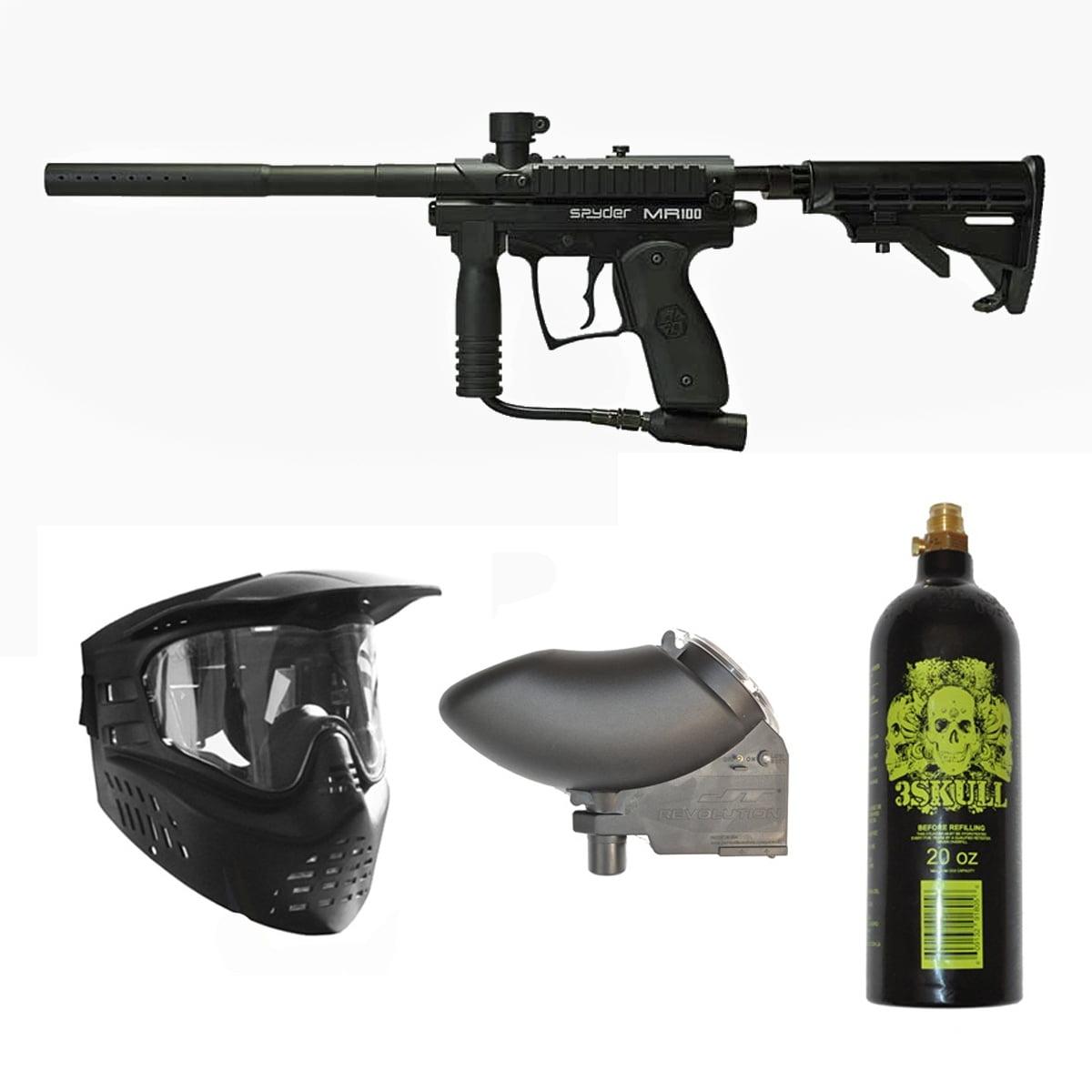 Spyder MR100 Pro Paintball Marker Gun + 20oz + GXG Mask + Revolution Hopper by