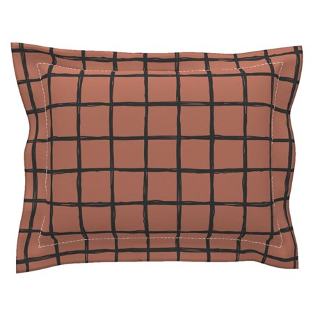 Check Check Geometric Copper Abstract Grid Scandinavian Pillow Sham by Roostery