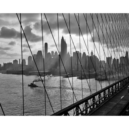 1940s-1950s Downtown Skyline Manhattan Seen Through Cables Of Brooklyn Bridge Tug Boat In East River Nyc Ny Usa Print By](Dream Downtown Nyc Halloween)