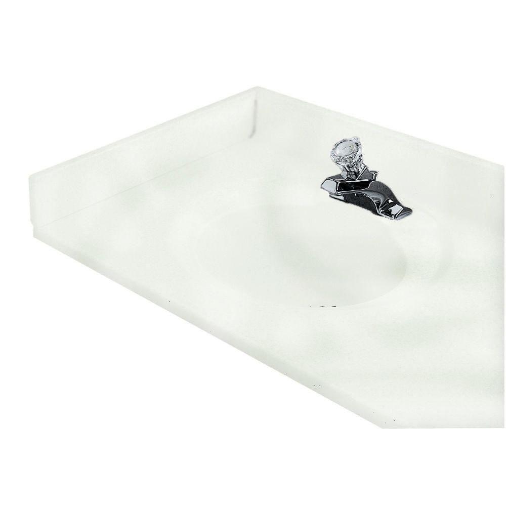 "American Standard CMB8239.801 19"" Cultured Marble Left Hand Sidesplash in White Swirl"