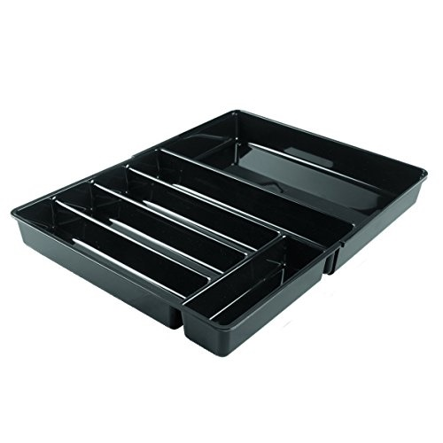 InterDesign Linus Expandable Kitchen Drawer Flatware Cutlery or Gadgets Organizer Black